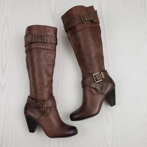 Arturo Chiang Vin Knee High Boots Brown Leather